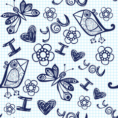 Romantic seamless pattern. Vector version is in my portfolio.