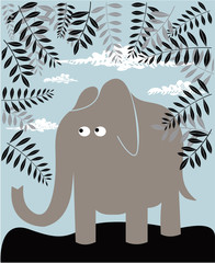 Naklejka premium Tło z słonia i liści
