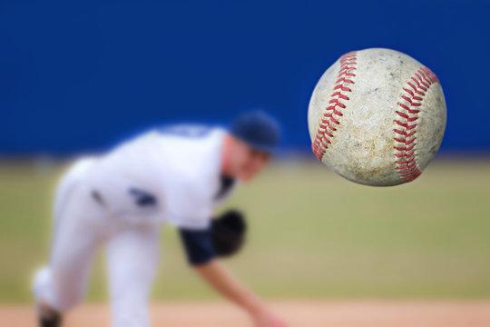 Baseball Pitcher Throwing ball, selective focus