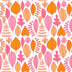 Seamless pattern with leaf, abstract leaf texture, endless backg