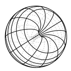 black line scheme sphere sketch vector