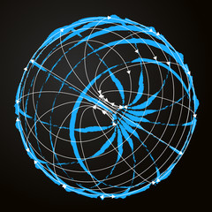 blue and white galaxy sphere sketch
