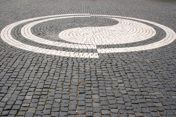 Cobblestones in the square of the city of Augsburg - Germany