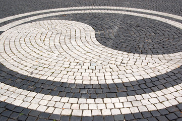Cobblestones in the square in Augsburg - Germany