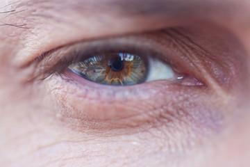 Macro photo of male grey eye