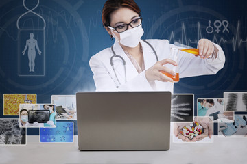 Beautiful scientist pouring solution on blue background