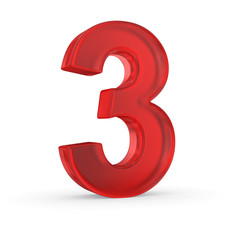 Number three- red isolated with clipping path