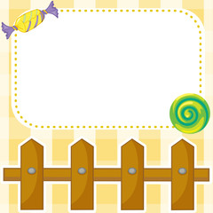 A stationery with candies and wooden fence