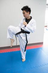 Taekwondo player practices kicking in gym