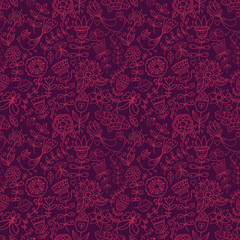 Seamless texture with flowers and birds. Endless floral pattern.
