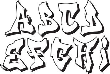 vector graffiti font alphabet part 1