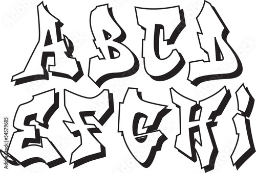 lettre graffiti modele vector graffiti font alphabet part 1