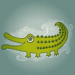 Cartoon crocodile illustration, cartoon illustration with kind c