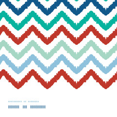 Vector colorful ikat chevron frame horizontal seamless pattern