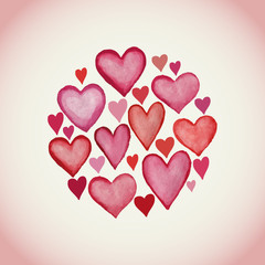 Decorative circle made of watercolor hearts Valentine's day back