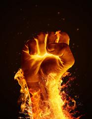 Deurstickers Vuur Fire fist