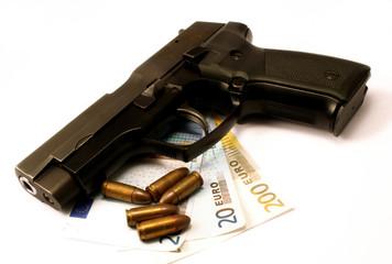 Gun, money and bullets