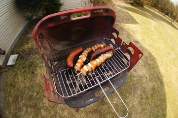 Barbecue in summer garden
