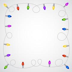 Christmas garland with colorful light bulbs
