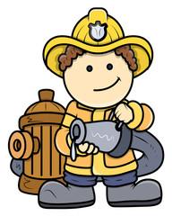 Little Fireman - Kid Vector Cartoon Illustration