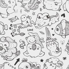 seamless doodle animal pattern
