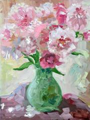 Etude oil painting peonies in a vase