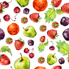 strawberry fruit seamless texture in watercolor