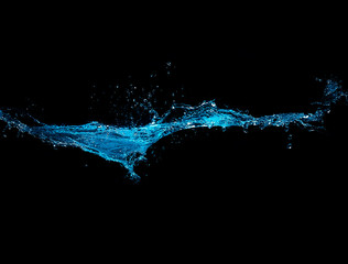 Blue Water Splash Isolated on Black Background
