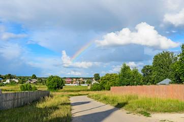 Rainbow in the sky after a rain.