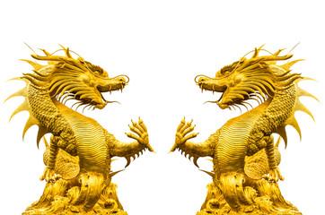 Double golden dragon statue