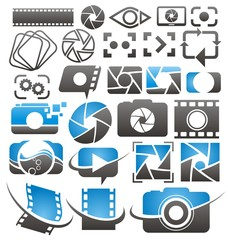 Set of vector photography and video icons, symbols and signs