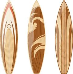 wooden surfboards vector