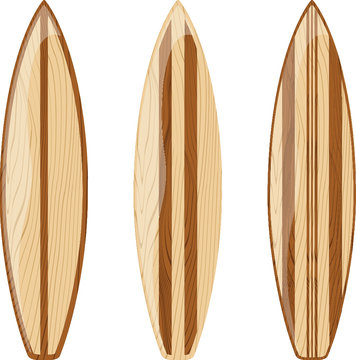 wooden retro surfboards