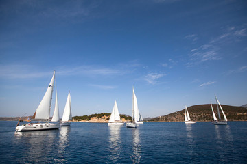 Sailing regatta in Greece - picture with space for text
