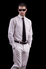 young man with white suit