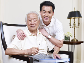 portrait of asian father and adult son
