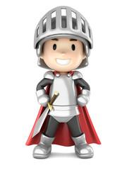 Foto op Canvas Ridders 3d render of a cute knight boy standing proud