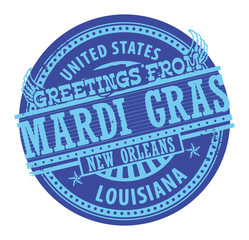 Grunge color stamp with text Greetings from Mardi Gras vector