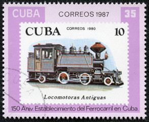Stamp printed in the Cuba shows antique locomotive