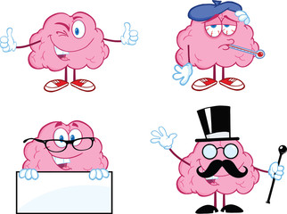 Brain Cartoon Mascot Collection 7
