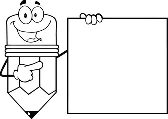 Outlined Pencil Cartoon Character Showing A Blank Sign