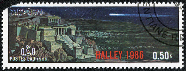 stamp printed in Laos devoted comet Halley