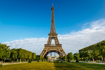Eiffel Tower and Champ  de Mars in Paris, France