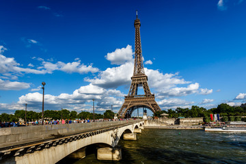 Eiffel Tower and Seine River with White Clouds in Background, Pa