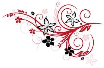 Ranke mit Blumen und Blättern . Sommer, rot, schwarz.