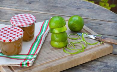 Homemade lime jam with fresh limes