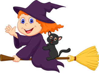 Young witch flying on on her broom