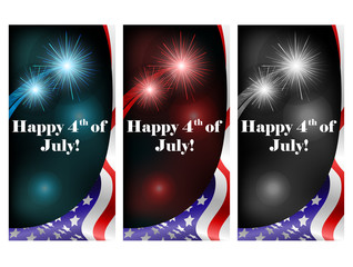 July 4 card set with firework