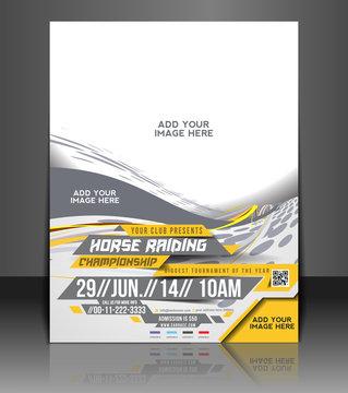 Vector Horse Riding  flyer, magazine cover