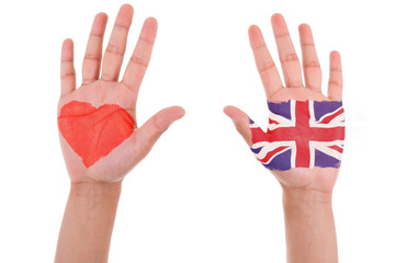 Hands with a painted heart and united kingdom flag, i love uk co